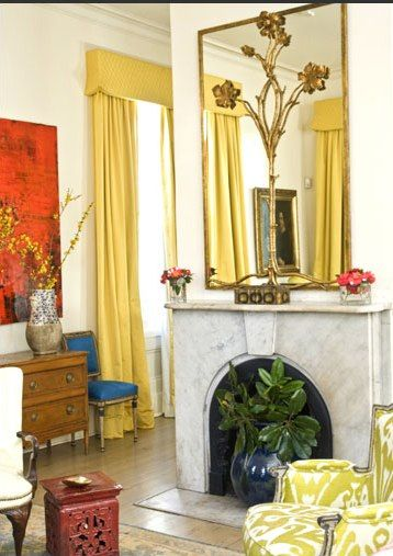 As usual, Melissa Rufty wows us with bold, playful colorsthat, here, act asaperfect contrast to the classic marble mantel.