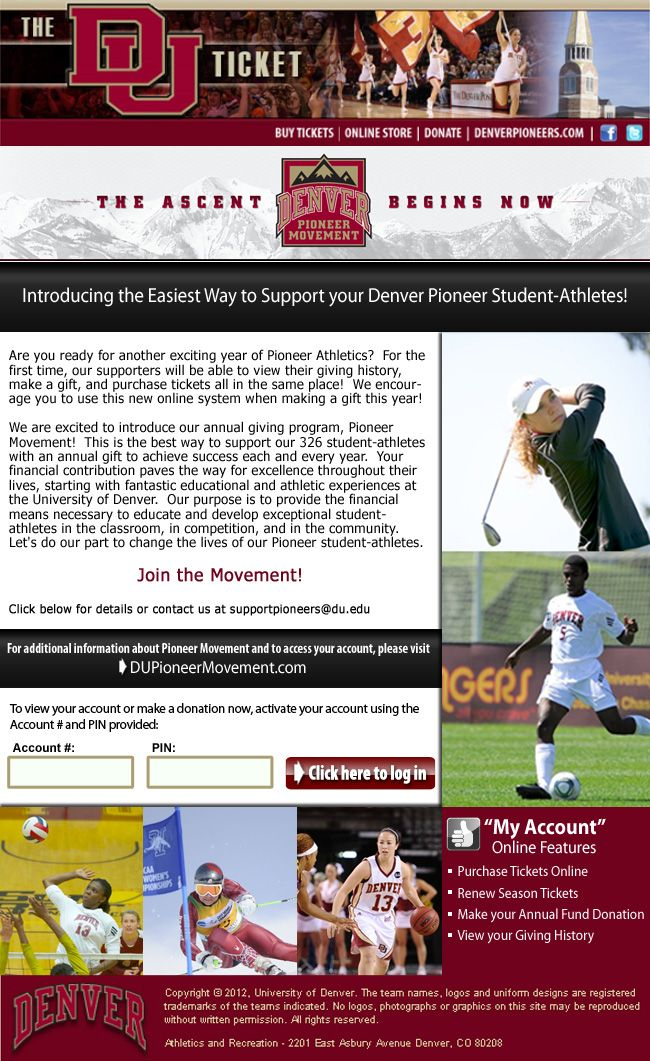 University Of Denver Pioneer Movement Online Account Features Athletic Scholarships College Athletics University Of Denver