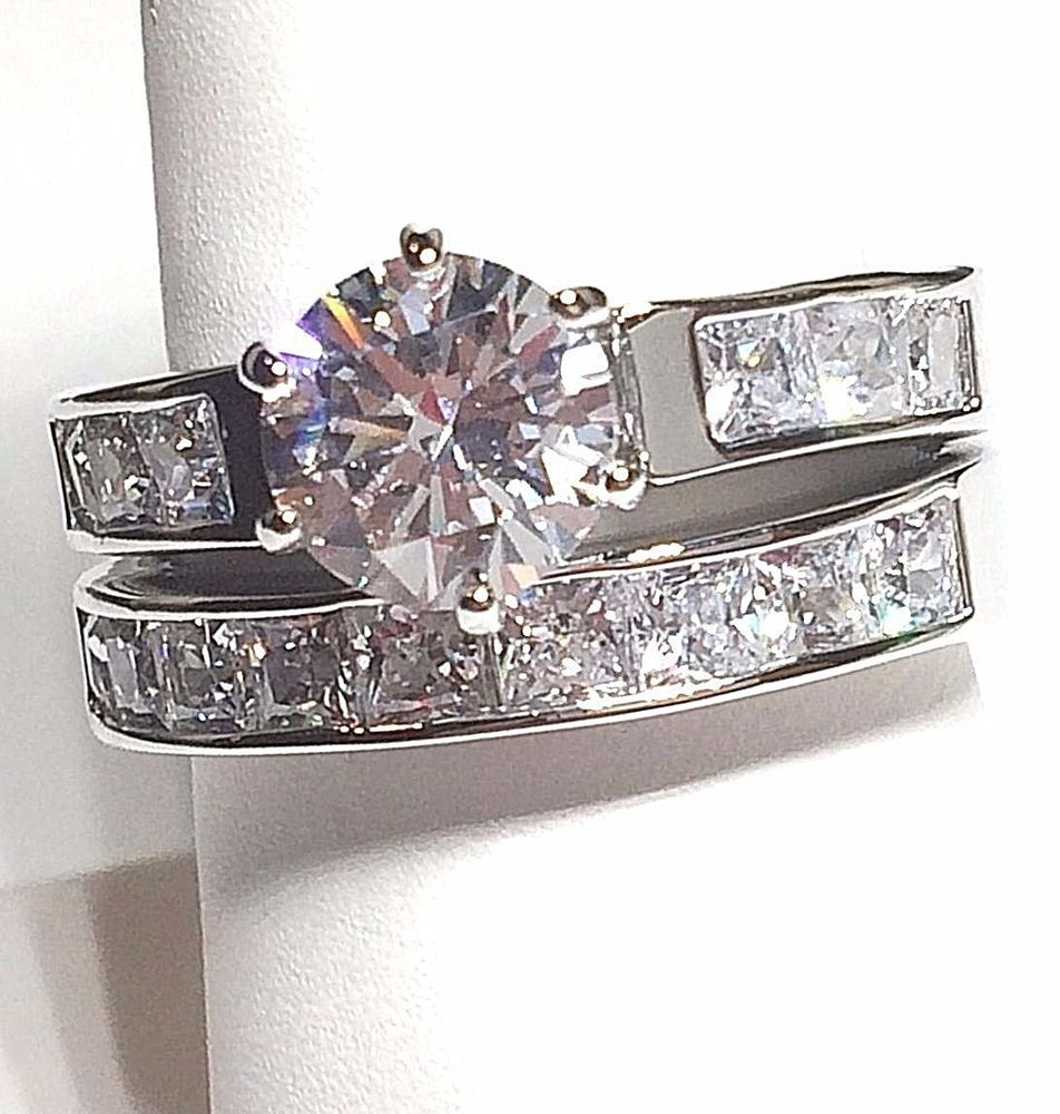 Silver Cubic Zirconia Ring Channel Set Size 10 11 12