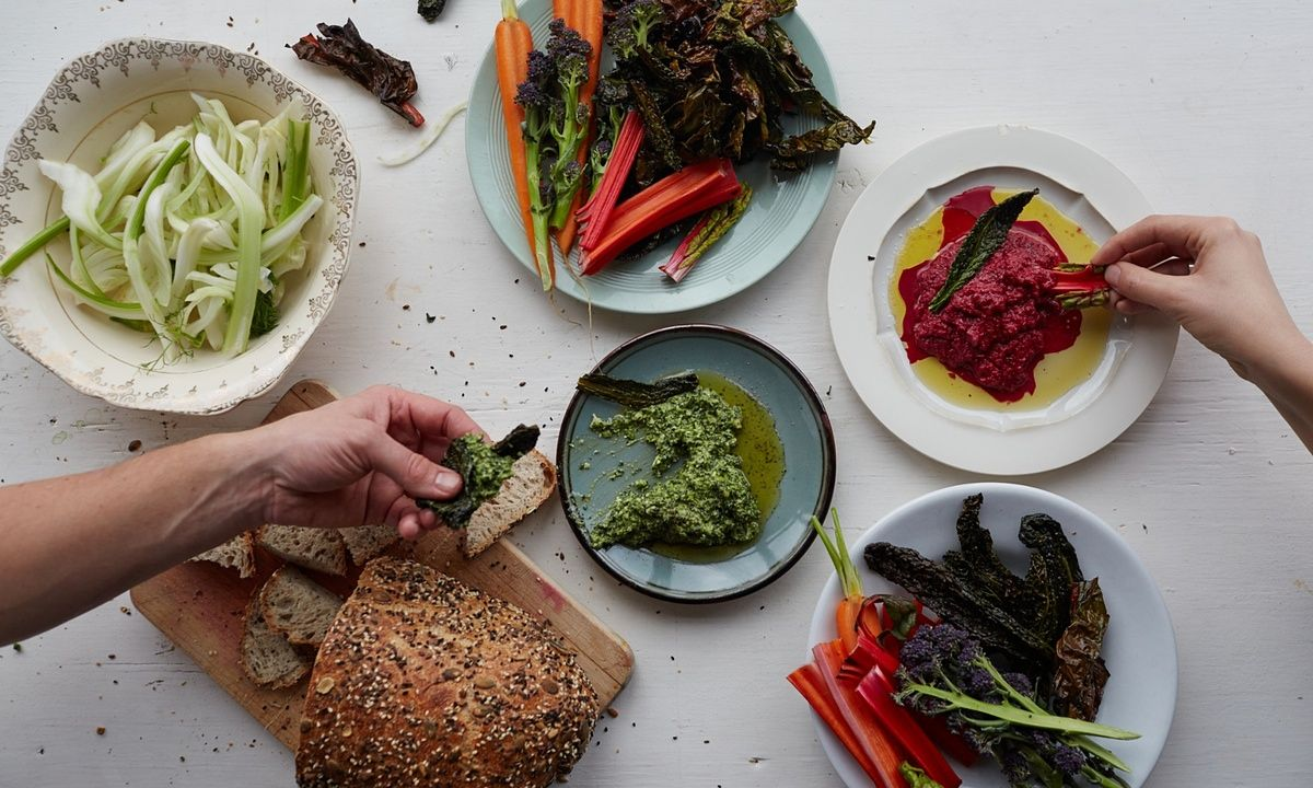 Beetroot hummus and cavolo nero dips Cook residency