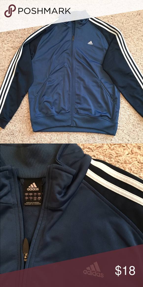 Blue & Navy Adidas Track Jacket Body is blue. Sleeves are Navy. Stripes are white. Size L. Excellent condition. Adidas Jackets & Coats Performance Jackets