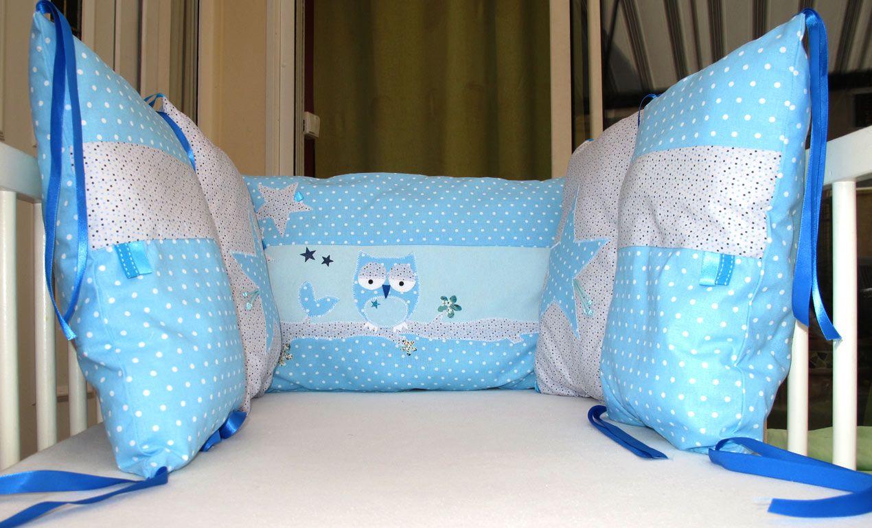 tour de lit 100 fait main pour petit gar on ou pour petite fille si maman aime le bleu ce. Black Bedroom Furniture Sets. Home Design Ideas