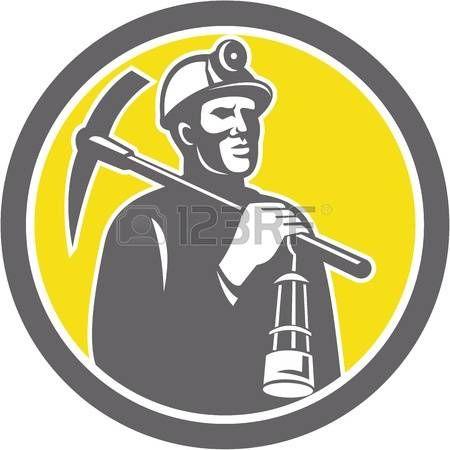 coal miner: Ilustración de un casco minero de carbón con cruzaron la piqueta y la lámpara dentro de un círculo hecho en estilo retro. Vectores