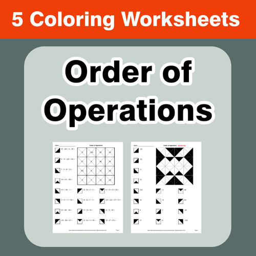 Order Of Operations Coloring Worksheets Coloring Worksheets