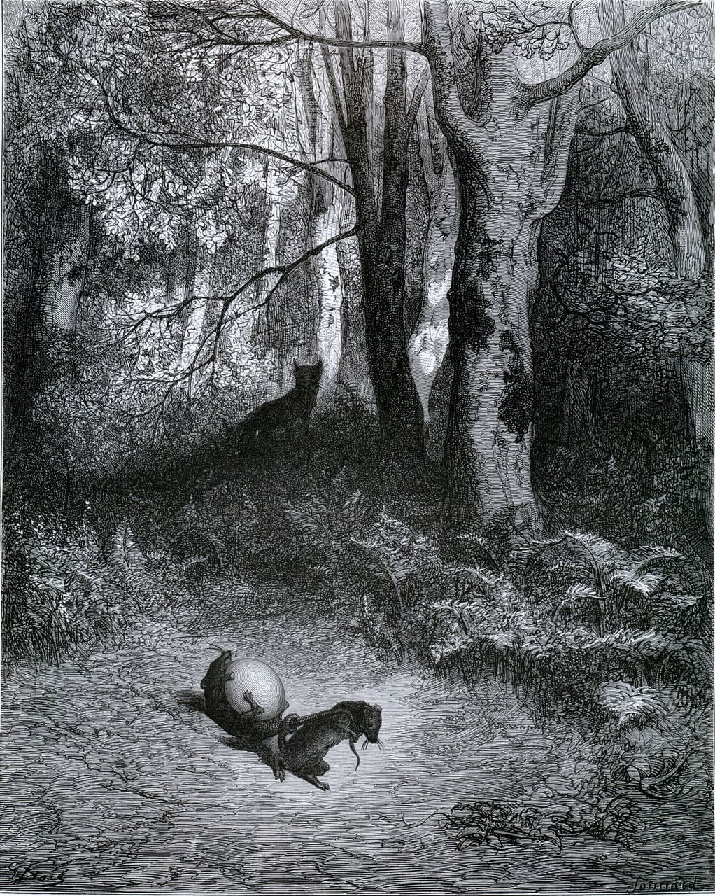 Gustave Doré. Two Rats, the Fox, and the Egg, 1867. From Doré's Illustrations for the Fables of La Fontaine.