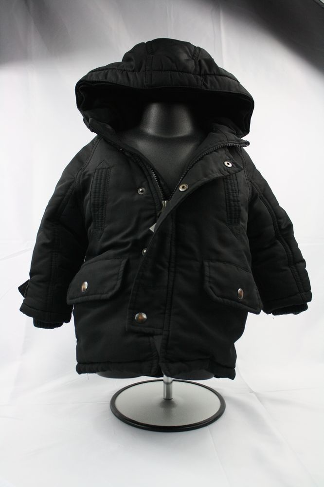 6abe7ce18fa3 Toddler Boy 12-18 Mos Black Coat Jacket BABY GAP Lined Hood Winter Snow   BabyGap  Coat  Everyday