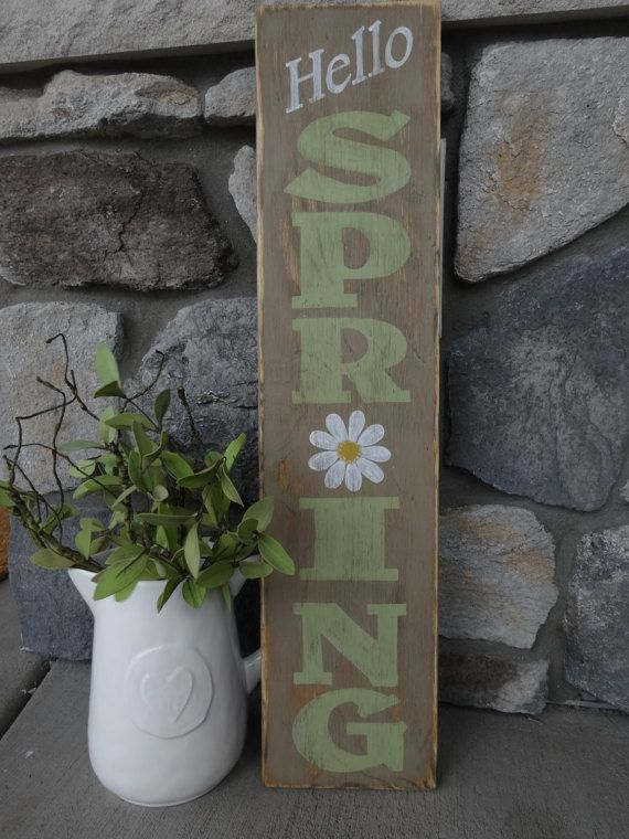 Hello Spring Sign 10x40 Hand Painted Wood Sign Vertical