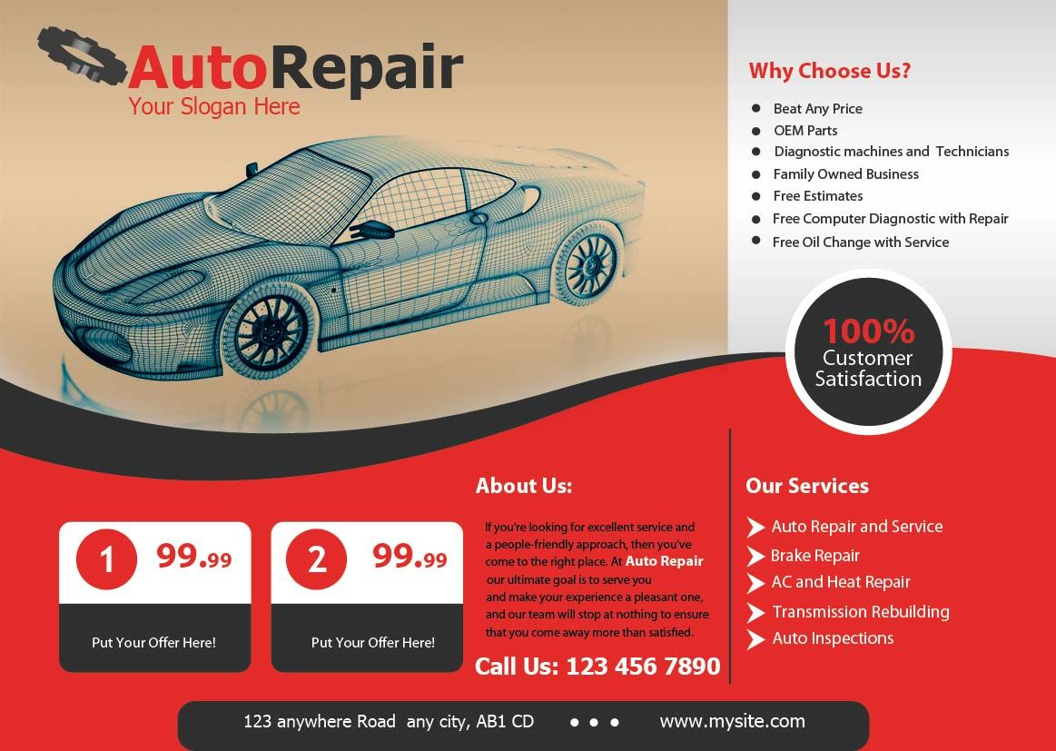 Get Best Promotional Auto Repair Flyers Designing And Printing