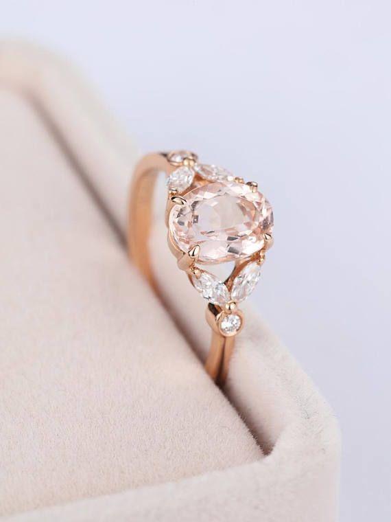 RotgoldVerlobungsring Vintage MorganiteVerlobungsring Damen Hochzeit Diamond Antique Marquise  Neue Mode Ringe  Oval engagement ring