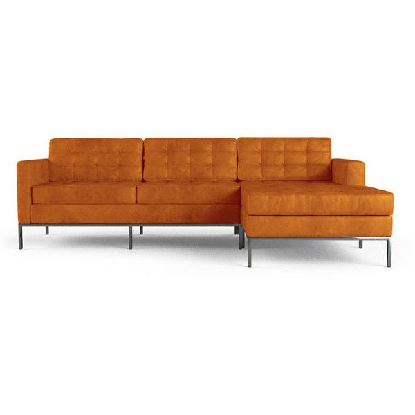 White Leather Sofa Joybird Franklin Mid Century Modern Orange Leather Sectional liked on Polyvore featuring