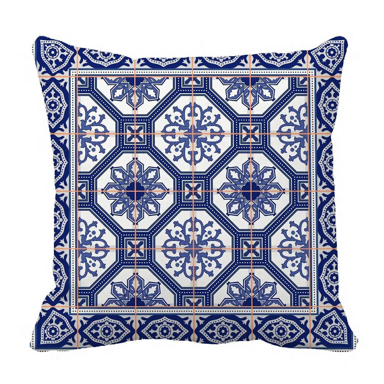 tiles border Moroccan Portuguese Azulejo Pillow?Case?Pillow?Cover?Cush
