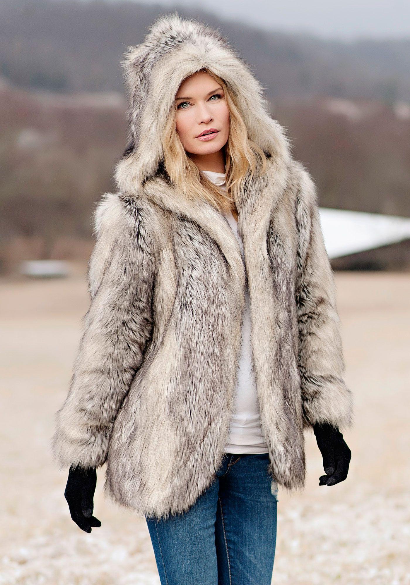 cc4bc6a38dc Grey Fox Hooded Faux Fur Jacket