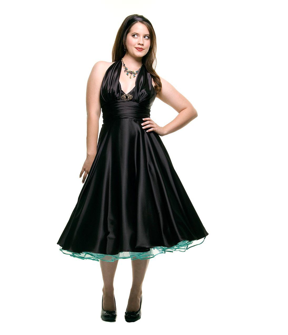 1950s style black marilyn satin halter prom dress black