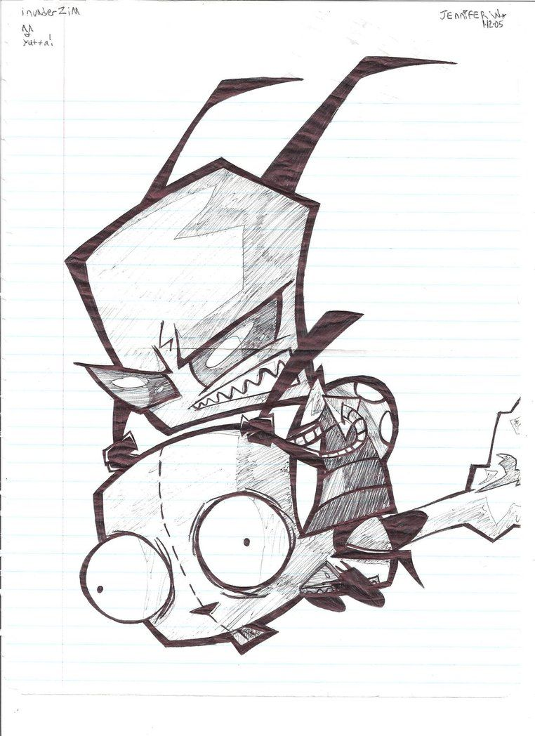 Invader Zim Bnw Drawing By Marimokun On Deviantart Invader Zim Characters Invader Zim Drawings