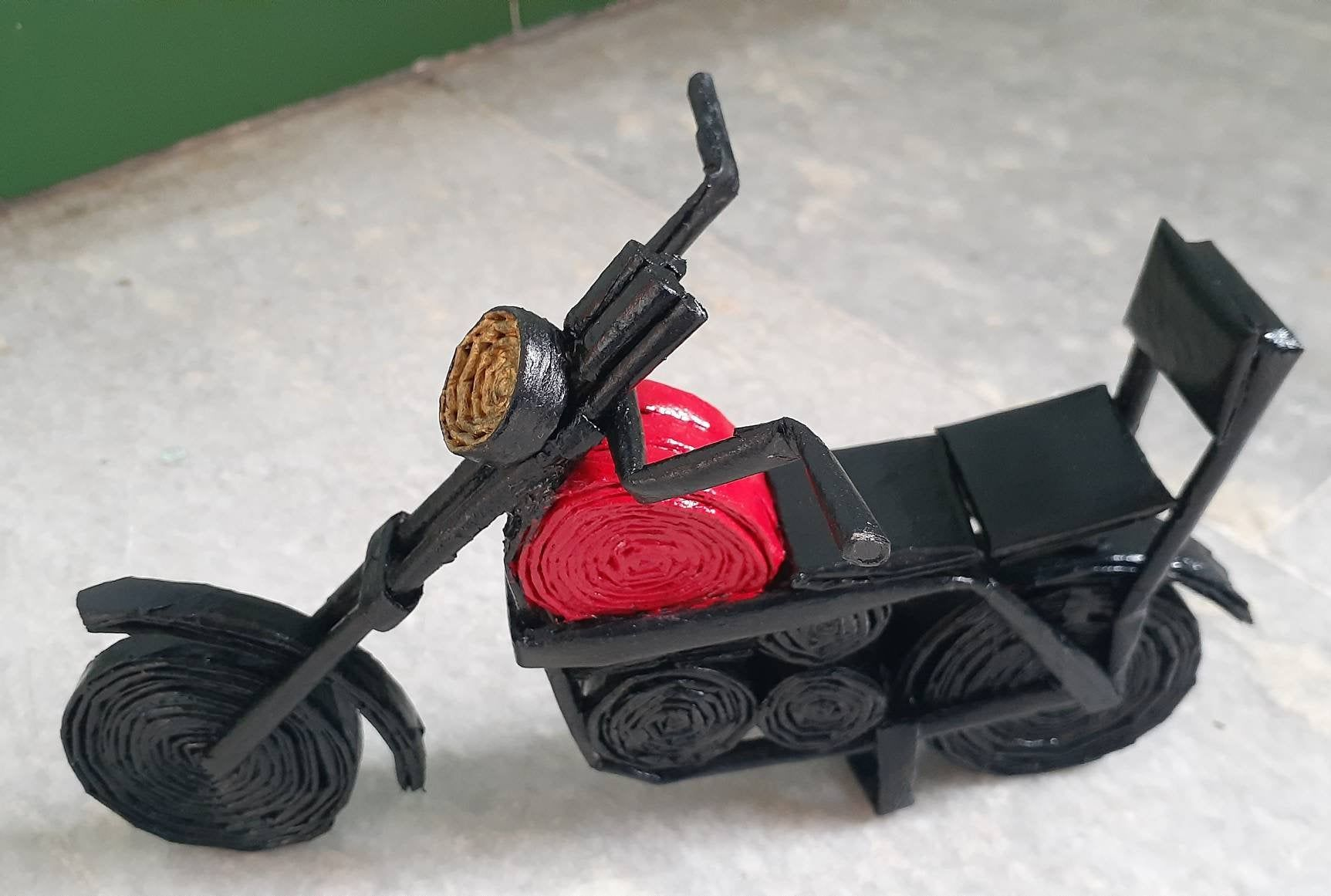 Handmade Paper Bike Black And Red Color Combo For Gifts And Home