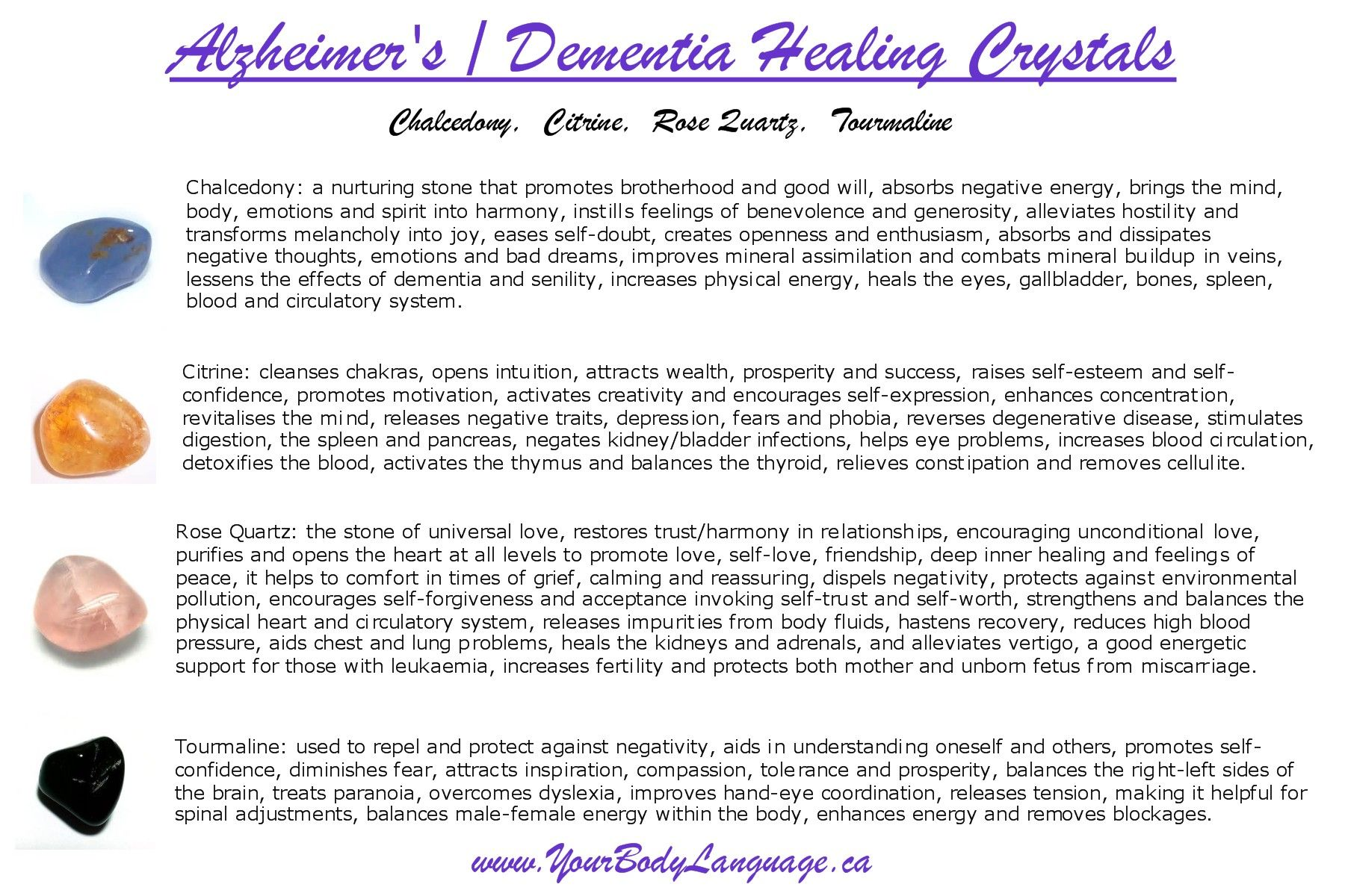 Alzheimer's/Dementia Crystal Healing Set $10 each, comes with 4
