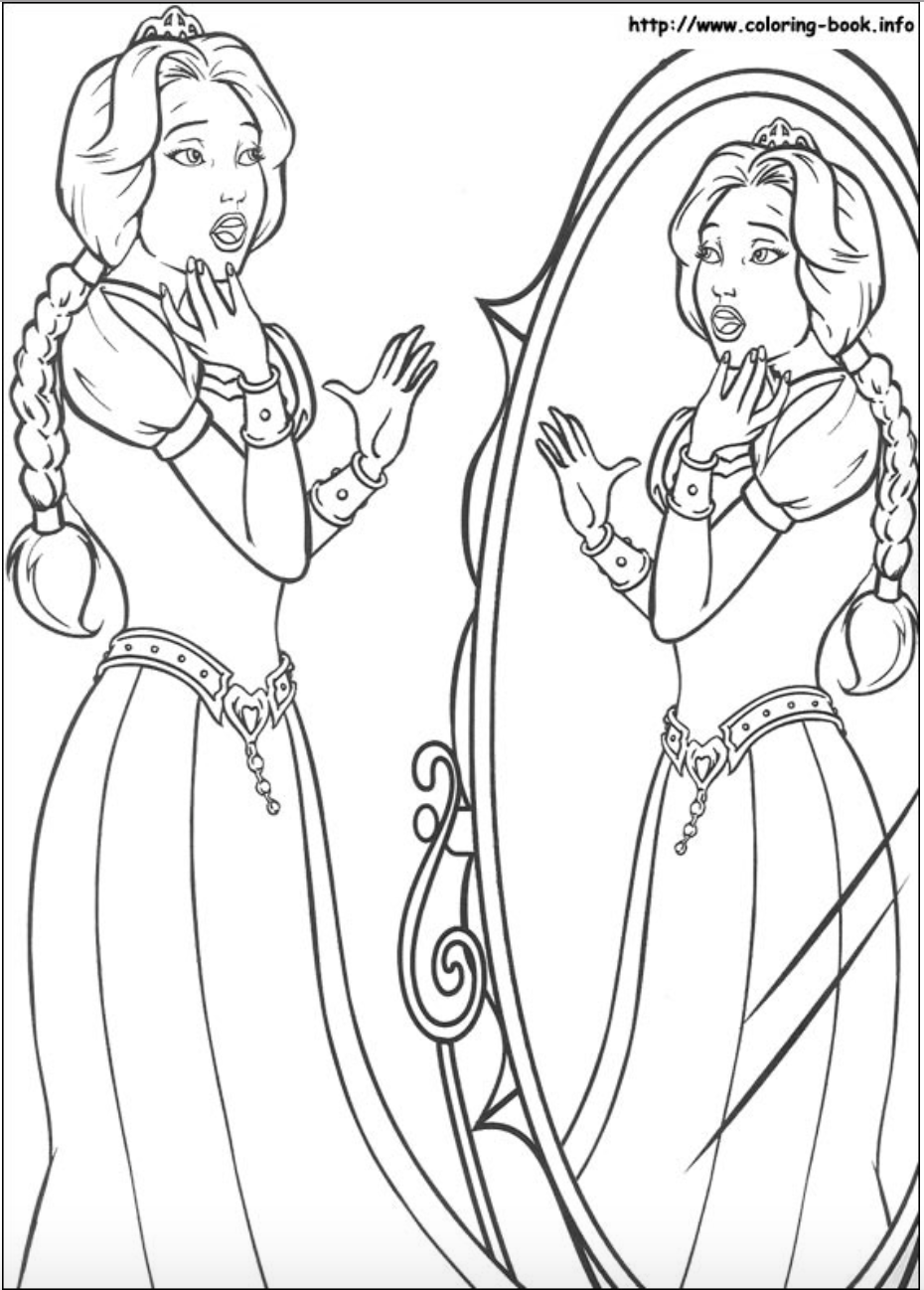 Princess Fiona And Her Beautiful Reflection In The Mirror Coloring Page Coloring Pages Free Coloring Pages Colorful Drawings