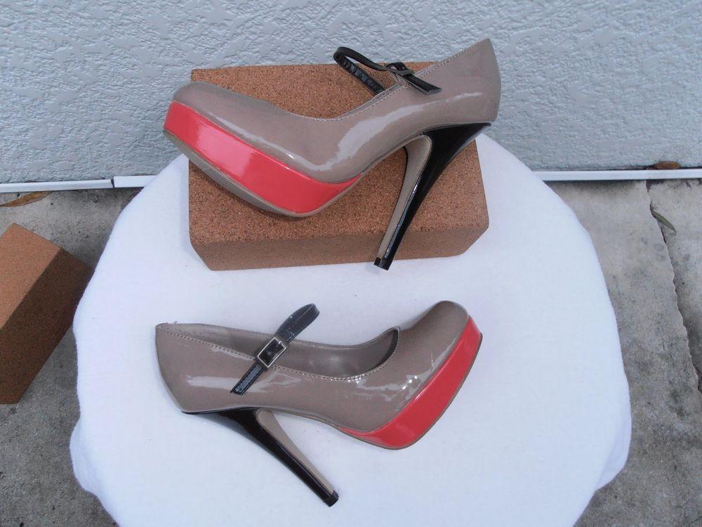 475de4e6db49 madden girl- Suzie-Nude Coral Black Mary Jane High Platform Heels-SZ 8M-NWOB