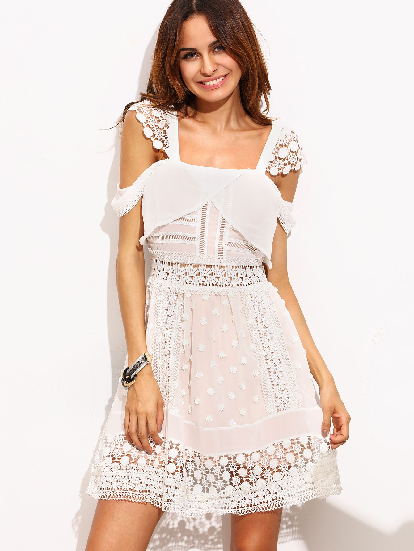e55168288bf Shop White Lace Trim Cold Shoulder Dress online. SheIn offers White Lace  Trim Cold Shoulder Dress   more to fit your fashionable needs.