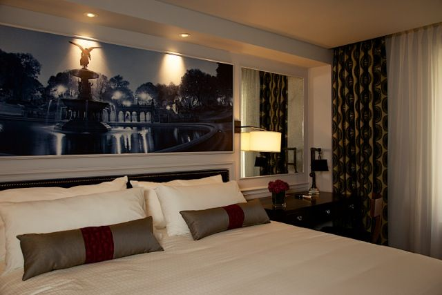 Here Central Park is framed within the Custom molding of the bed