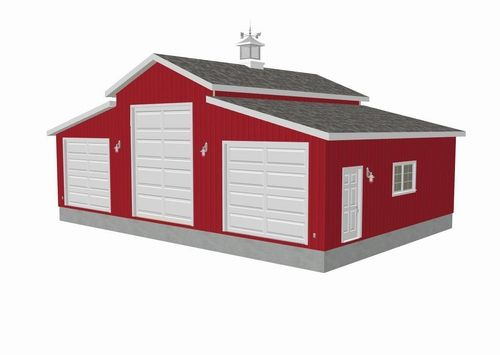 Plan g258 45 x 30 10 Sides 15 center RV Garage Plan – Barn Style Garage Plans For Free