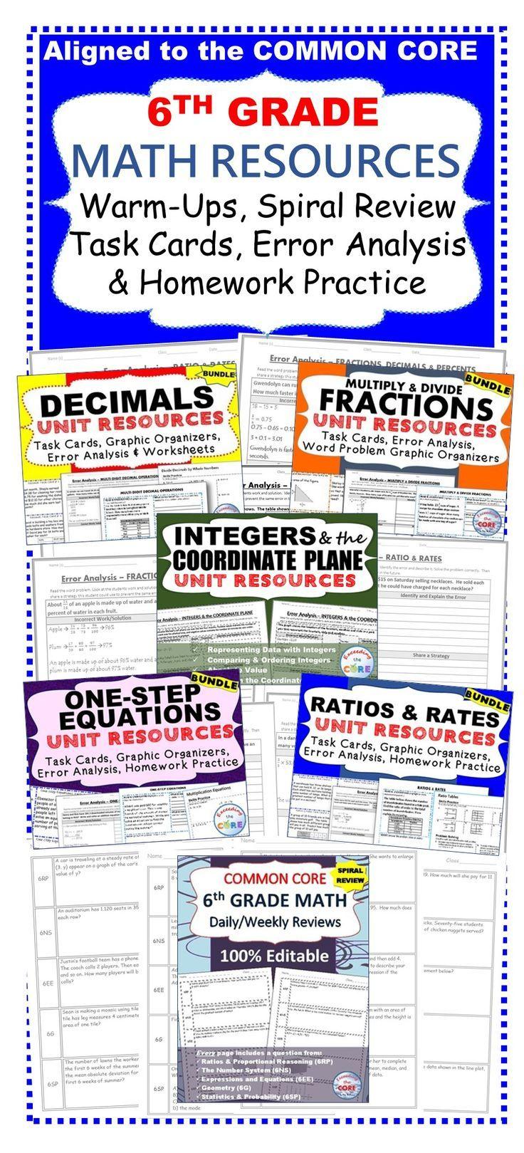 small resolution of 6th Grade Math COMMON CORE Warm-Ups