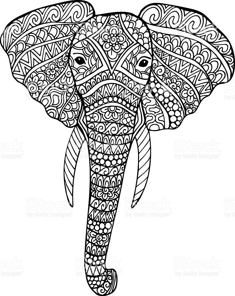 Vector doodle elephant drawing. hand drawn ornate elephant ...