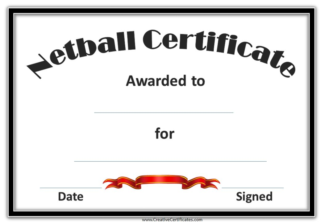 netball certificate with a black frame and a red award ribbon - sports certificate in pdf