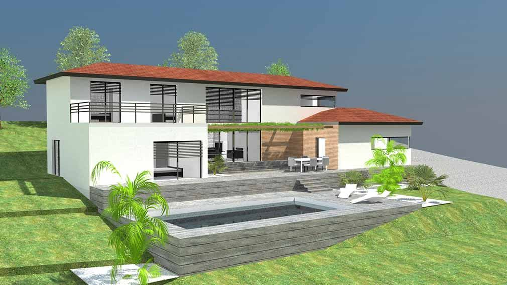 Maison design d architecte demi niveaux sur terrain en for Photo amenagement exterieur terrain en pente