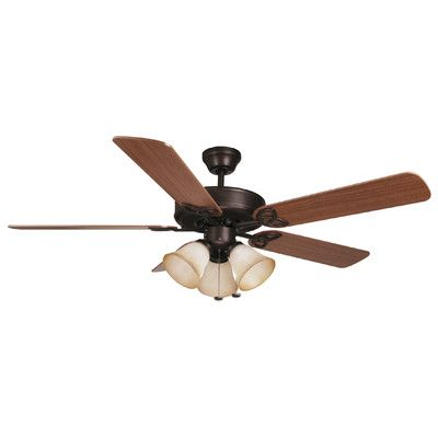 "Craftmade 52"" Builder Deluxe 5 Blade Ceiling Fan Finish: Aged Bronze with Dark Oak/Mahogany Blades"