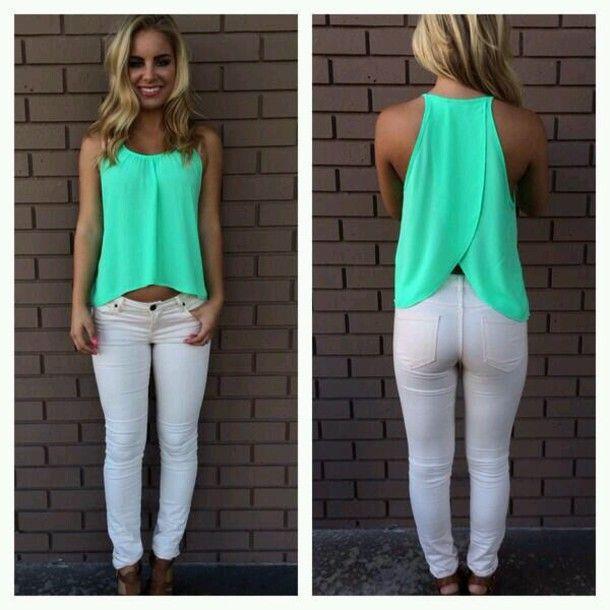 shirt pants leggings red lime sunday blouse teal split back open back turquise teal tank flow summer green tabk green shirt mint