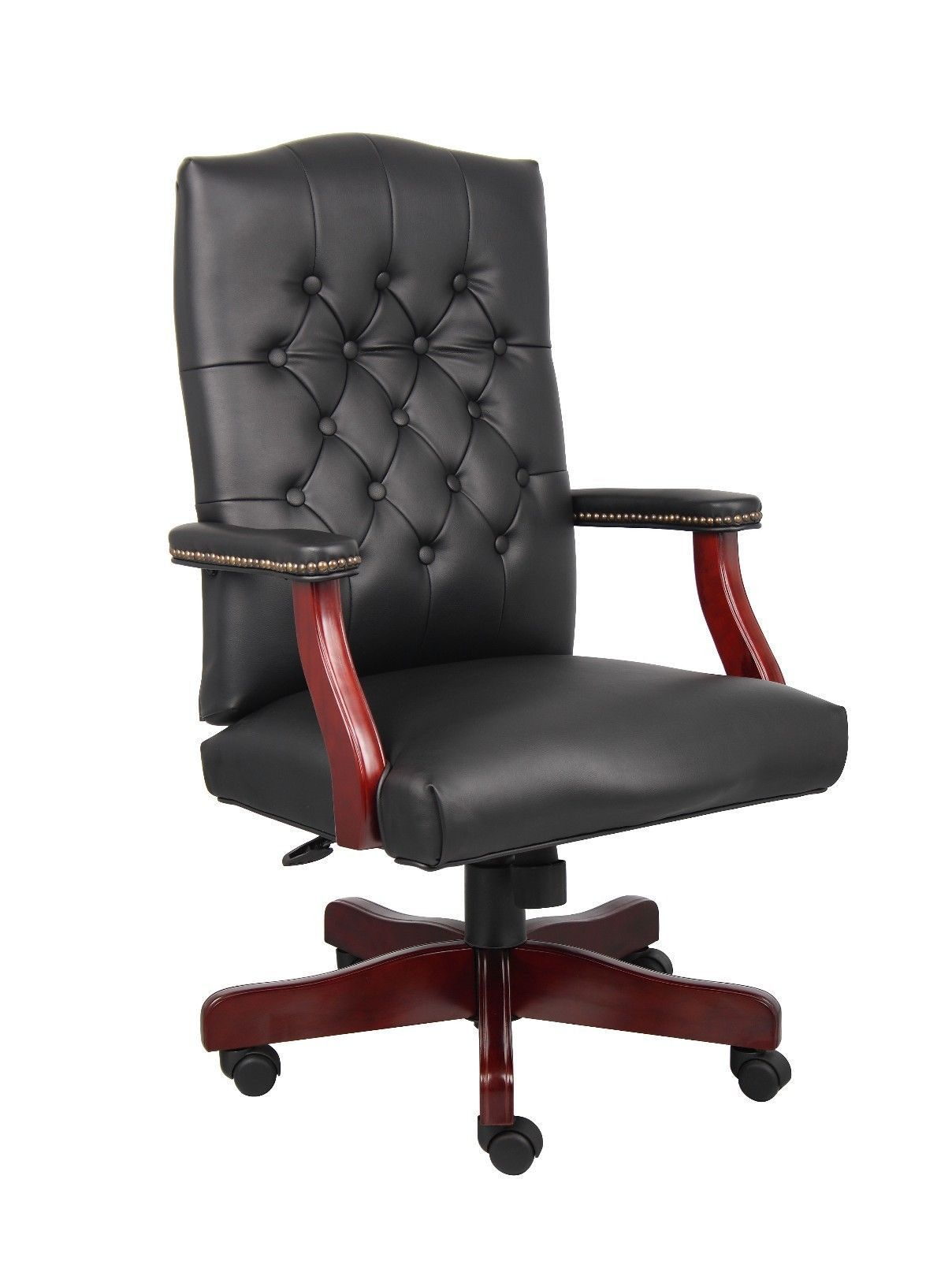 Wood conference chairs - Mid Back Traditional Tufted Leather Executive Office Chair Black By Timeoffice