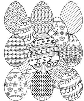 Zentangle Hand Drawn Artistic Easter Eggs Pattern For Adult Coloring Page In Doodle Tribal Style Happy Day Ethnic Ornamental Design