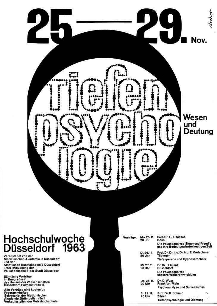 Breker Walter De 1963 Tiefenpsychologie Hochschulwoche Dusseldorf 1963 Plakat A1 Graphic Poster Grafik Design Graphic Design
