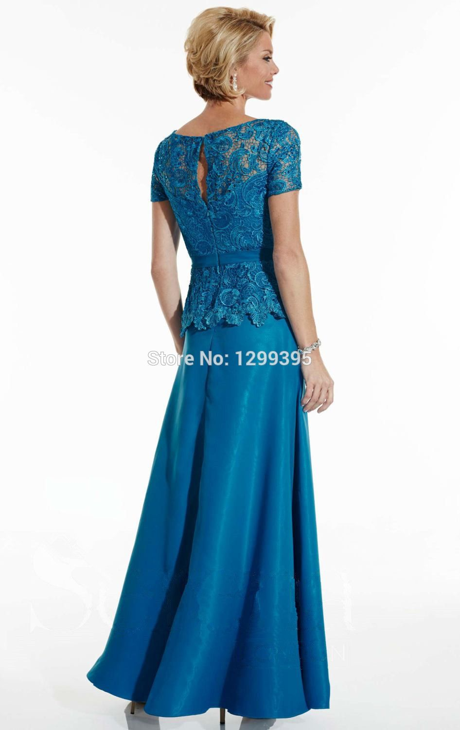Blue Lace and Satin Mother of the Bride Dress for Wedding Wedding ...