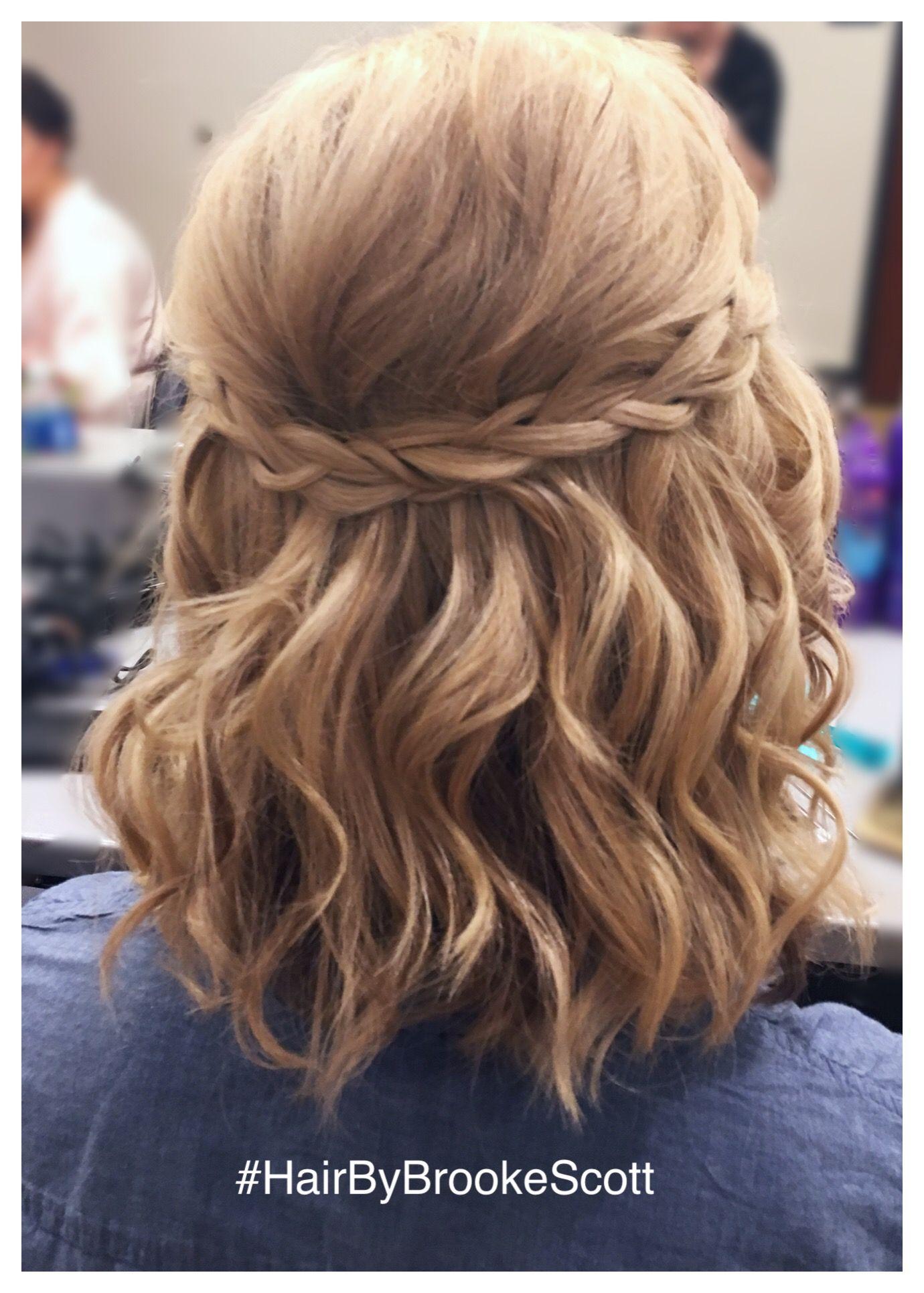 Simple braided half updo for short hair done by Brooke at AV Beauty Bar in OTR (…