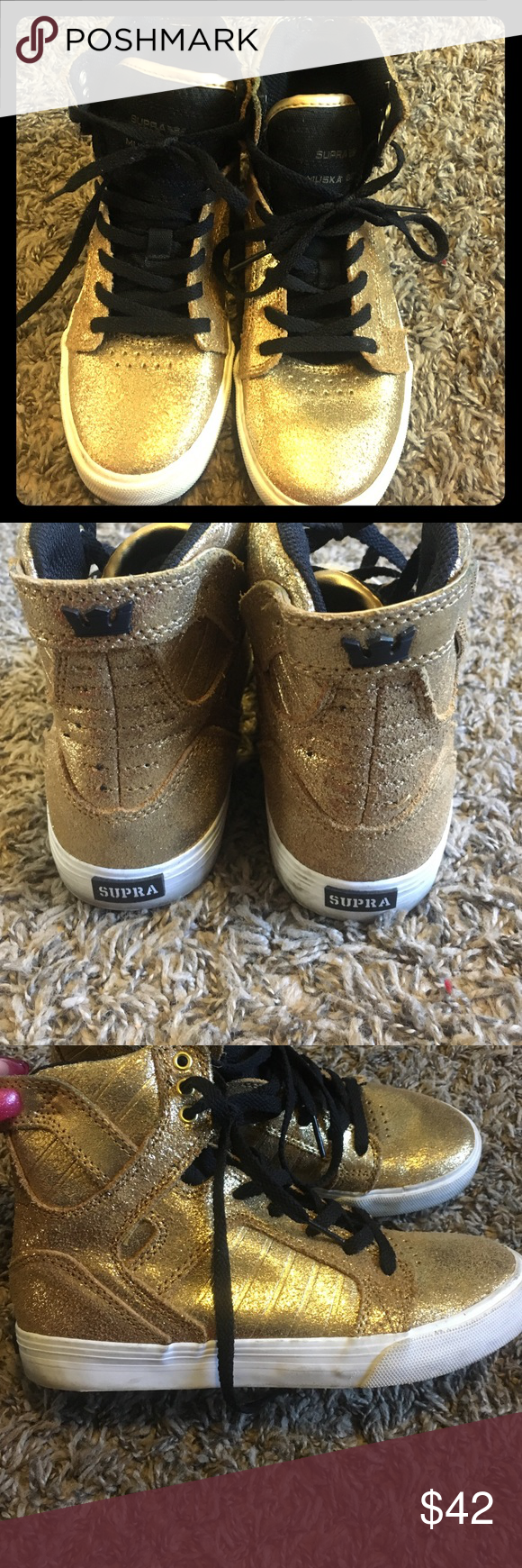 Gold shiny Supra Worn once gold Supra kids shoes.   Some scuffs but still in good condition Supra Shoes Sneakers