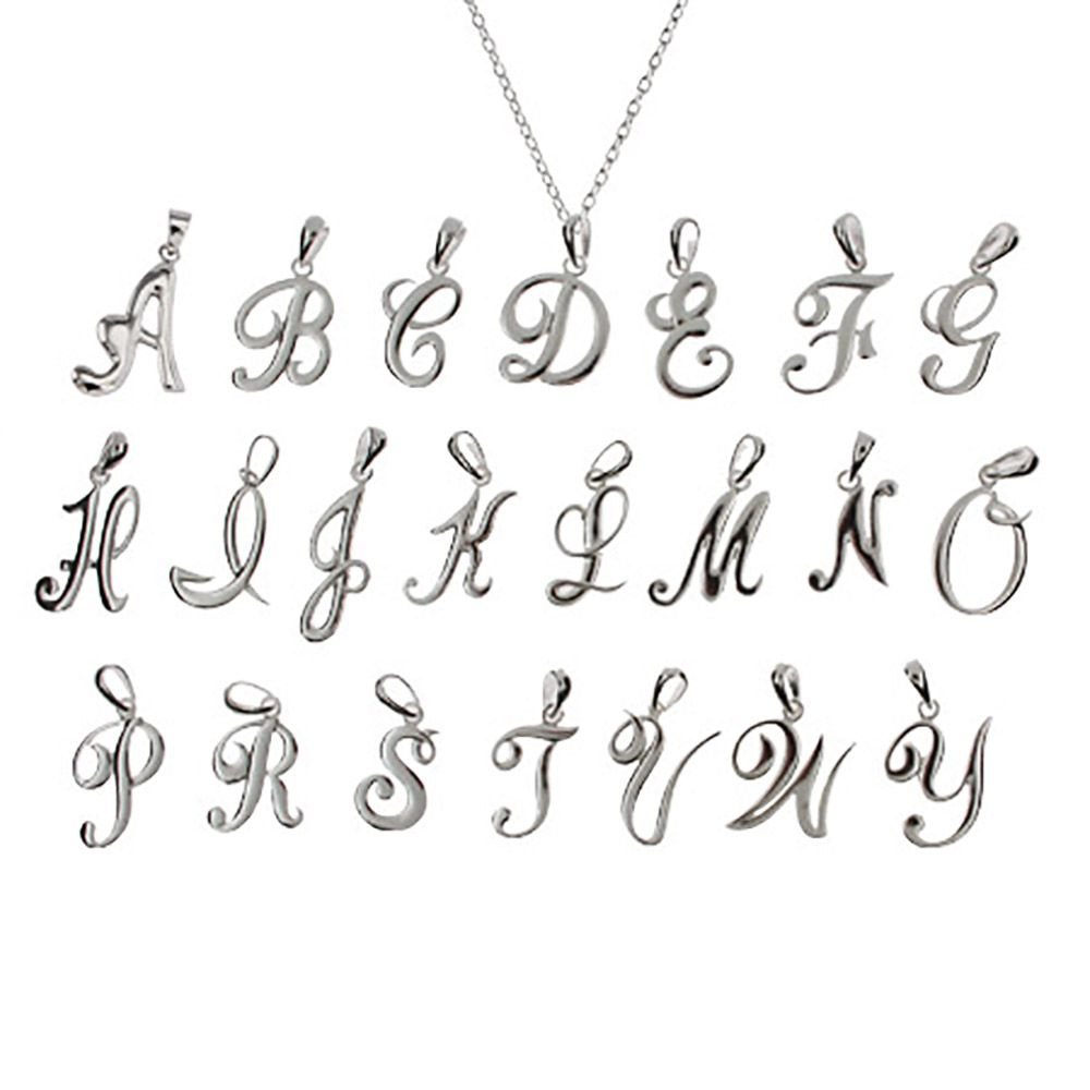 Sterling silver script initial pendant personalized script initial necklace pendant choose a script letter charm to add to this sterling aloadofball Gallery