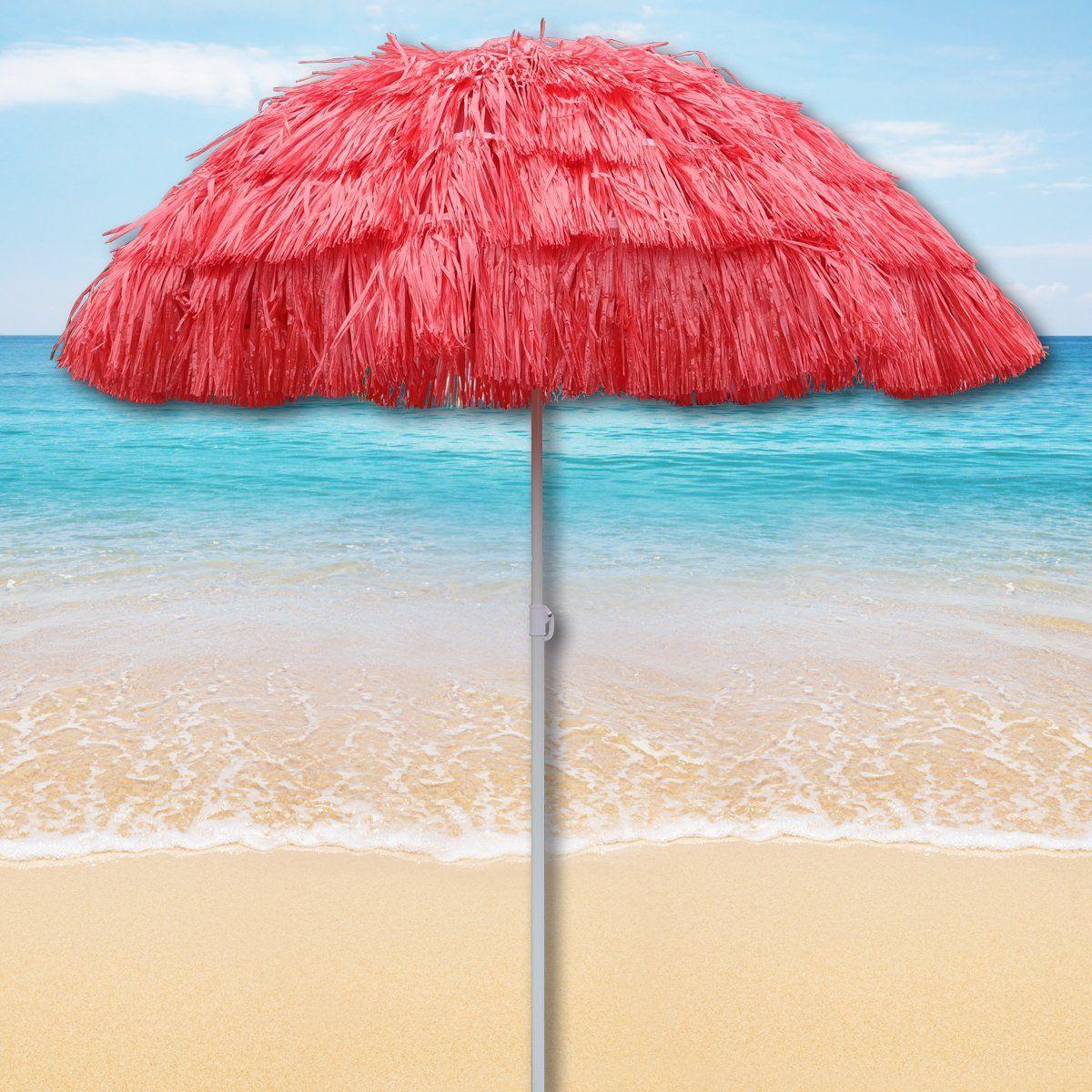 Red Outdoor Garden Hawaiian Parasol Beach Umbrella Tilting