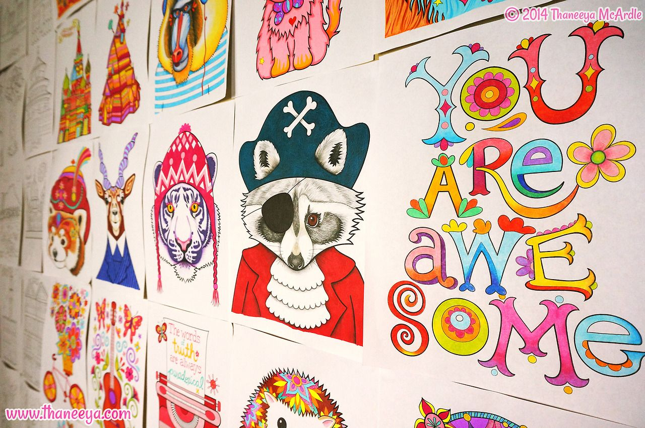 Colored Images From My Coloring Books Including Hipster Book And Dapper Animals