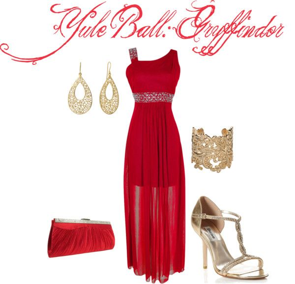 Bold Gryffindor Yule Ball... by me on Polyvore | Dress Up | Pinterest