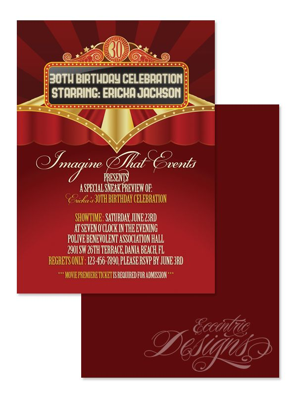 Movie Premiere Digital Milestone Birthday Party Invitation Party