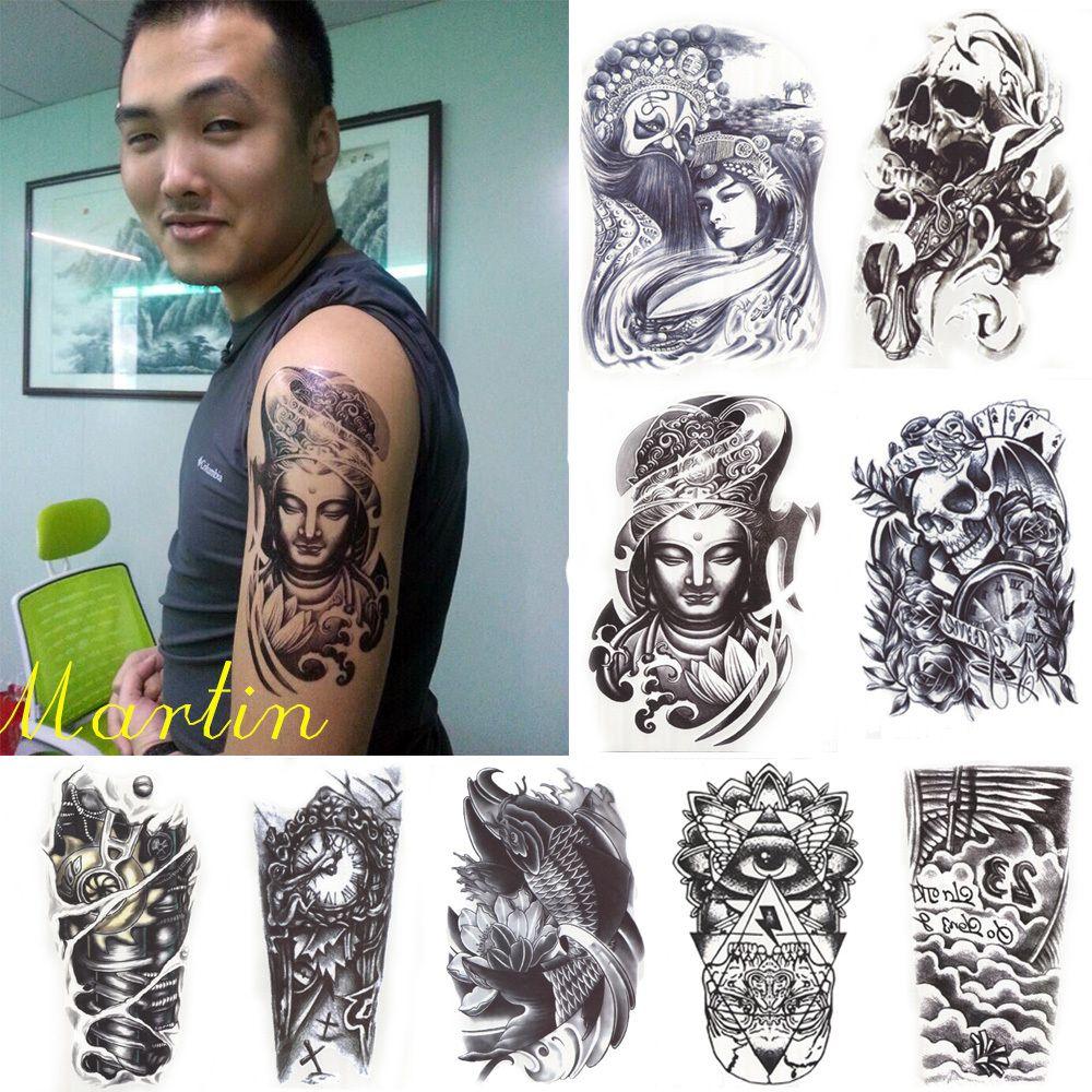 5x Estilos 3D Impermeable Manga Del Brazo Del Cuerpo de Arte Del Tatuaje Tatouage Tatuajes Temporales Tatoo Glitter Negro Para Hombre de Las Mujeres Guapos