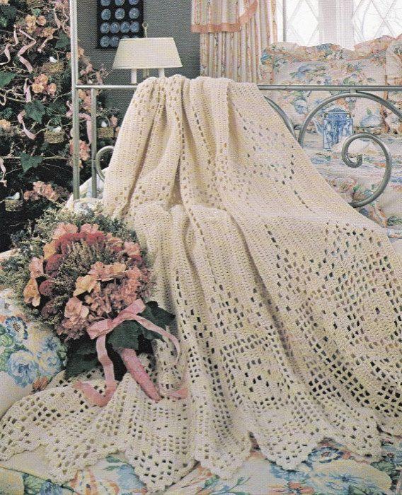 Vintage Rose Filet Afghan CROCHET PATTERN by GreatPatterns