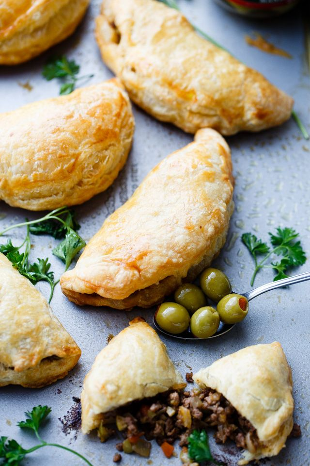 Beef Empanadas with Olives | Easy Puff Pastry & Ground Beef Recipe