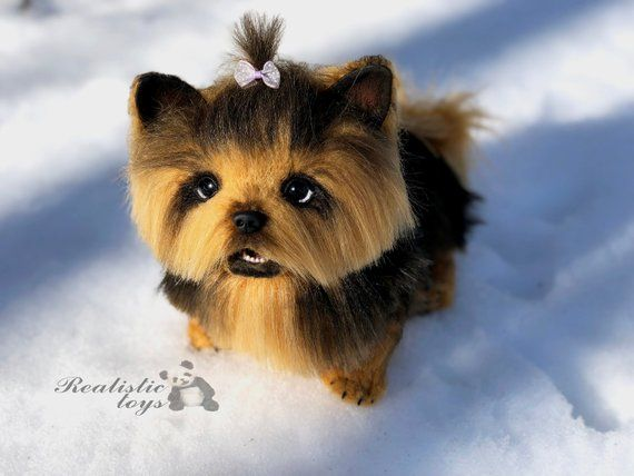 8060db665dca Realistic stuffed animal toy yorkshire plush puppy, OOAK yorkie, collectible  Artist toy , stuffed do