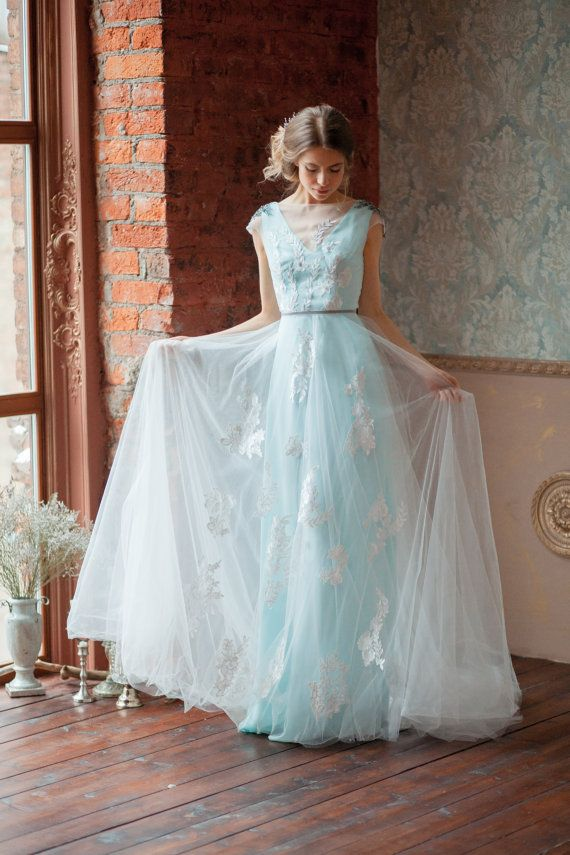 This Is A Variation Of Our Glen Dress Made In Beautiful And Tender Aquamarine Color All Gowns Are Designed To Feel Lightweight Easy Wear