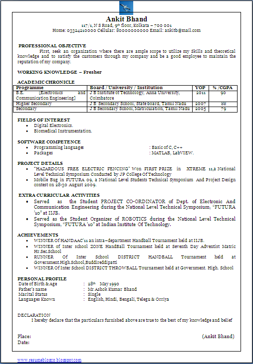 Resume Format For Engineering Students   http   www jobresume website  resume