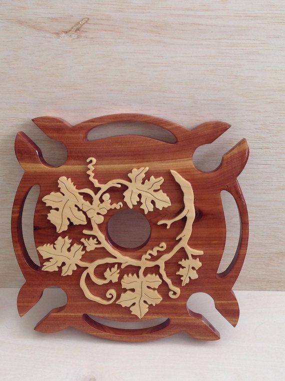 Wooden wine bottle glass holder by kentskrafts on etsy laser wood art pinterest - Decoupe bouteille verre ...