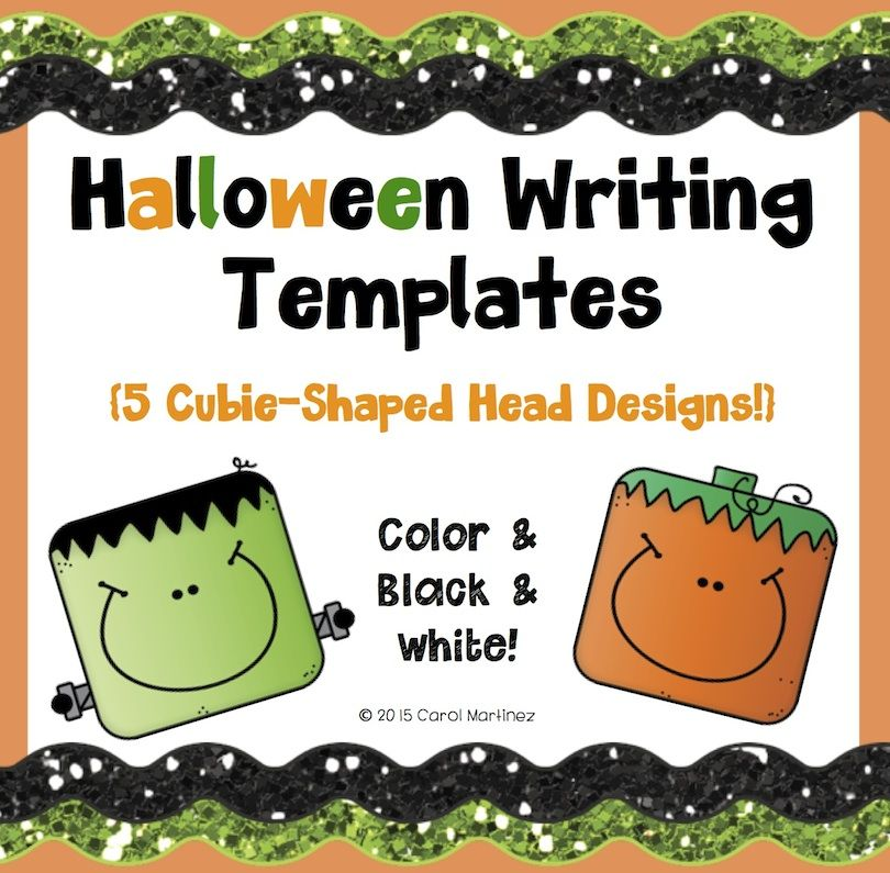 5 styles of fun Halloween Writing Templates, ready to print & go!  Color & black and white options! $
